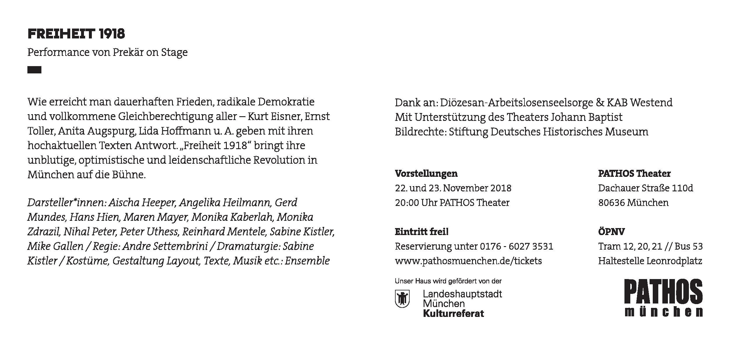 Freiheit 1918 von Prekär on Stage - Einladungstext